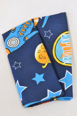 New 2 Pack Navy Outer Space Pillow Cases Decor Boys All Ages