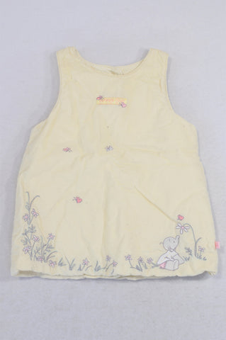 Marks & Spencers Pink Yellow Padded Corduroy Dress Girls 0-3 months