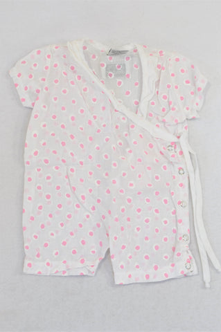Keedo Pink Dotty Lightweight Side Tie Romper Girls 0-3 months