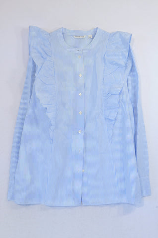 Country Road Blue & White Pinstripe Ruffle Shoulder Blouse Women Size S