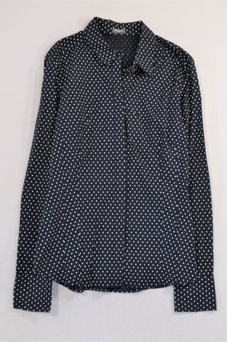 Studio.W Navy & White Dotted Button Up Shirt Women Size XS