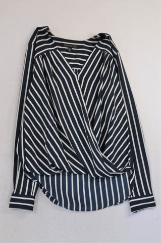 Forever New Navy & White Stripe Fold Over Cuff Sleeve Blouse Women Size 6
