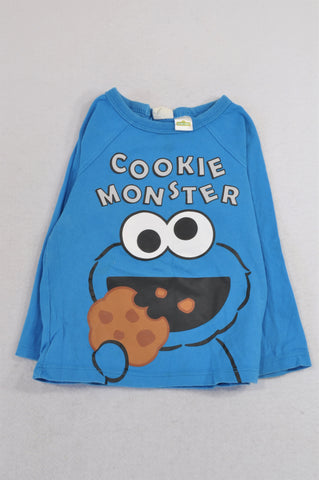 H&M Bright Blue Cookie Monster T-shirt Boys 9-12 months