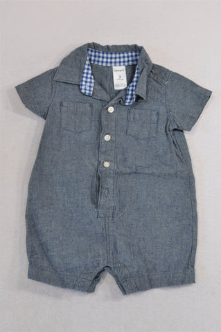 Carter's Chambray Button Check Trim Romper Boys 0-3 months