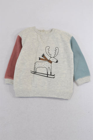 Cotton On Beige Scarf Wearing Deer Pull Over Top Unisex 12-18 months