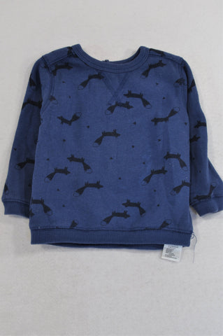 Cotton On Navy Fox Print Pull Over Top Unisex 12-18 months