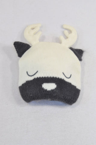 Cotton On Ivory & Grey Knit Reindeer Beanie Unisex 6 months to 2 years
