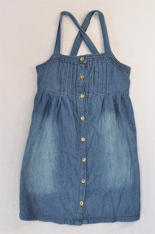 Mr. Price Lightweight Denim Pleat Bodice Buttoned Dress Girls 10-12 years