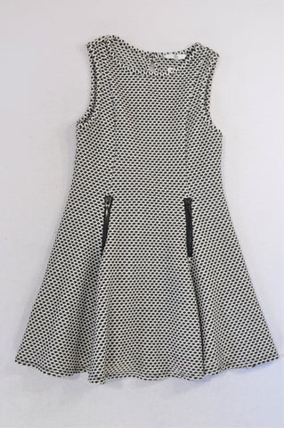 Marks & Spencers Black & White Textured Zipper Detail Dress Girls 8-9 years