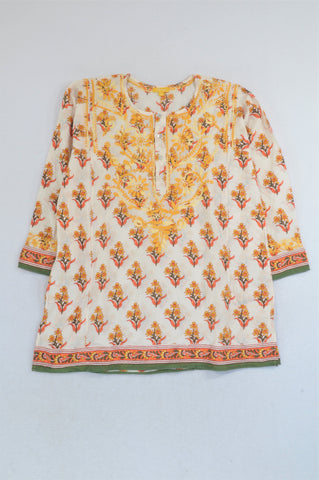 Ahilaya Yellow & Green Flower Embroidered Tunic Blouse Women Size 6