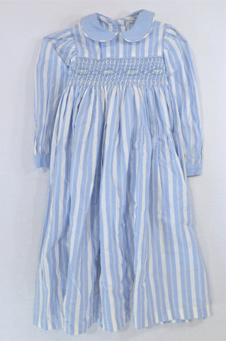 Unbranded Light Blue Stripe Elasticated Bodice Dress Girls 12-13 years