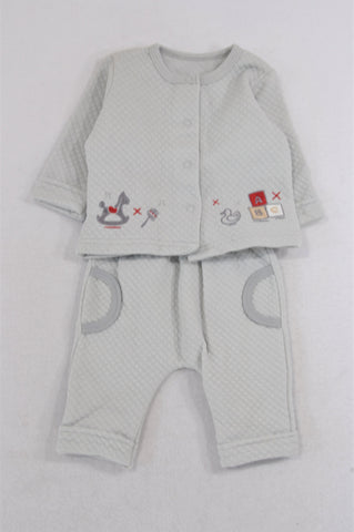 New Woolworths Grey Quilted ABC Block Jacket & Pants Outfit Unisex 0-3 months
