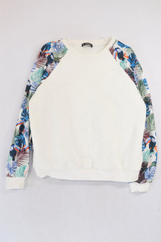 Shein White Embossed Multi Colour Leaf Sleeve Pull Over  Top Women Size XS