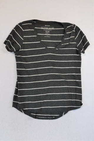 Cotton On Charcoal Stripe V-Neck T-shirt Women Size M