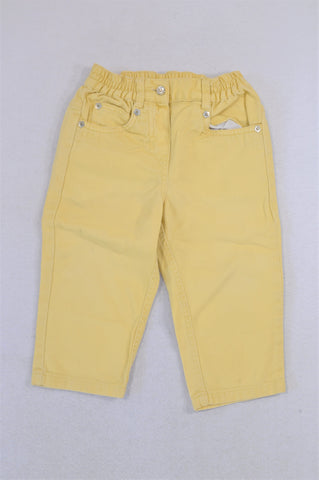Mothercare Yellow Flower Studded Pants Girls 12-18 months