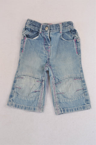 Marks & Spencers Stone Washed Pocket Trim Jeans Girls 6-9 months