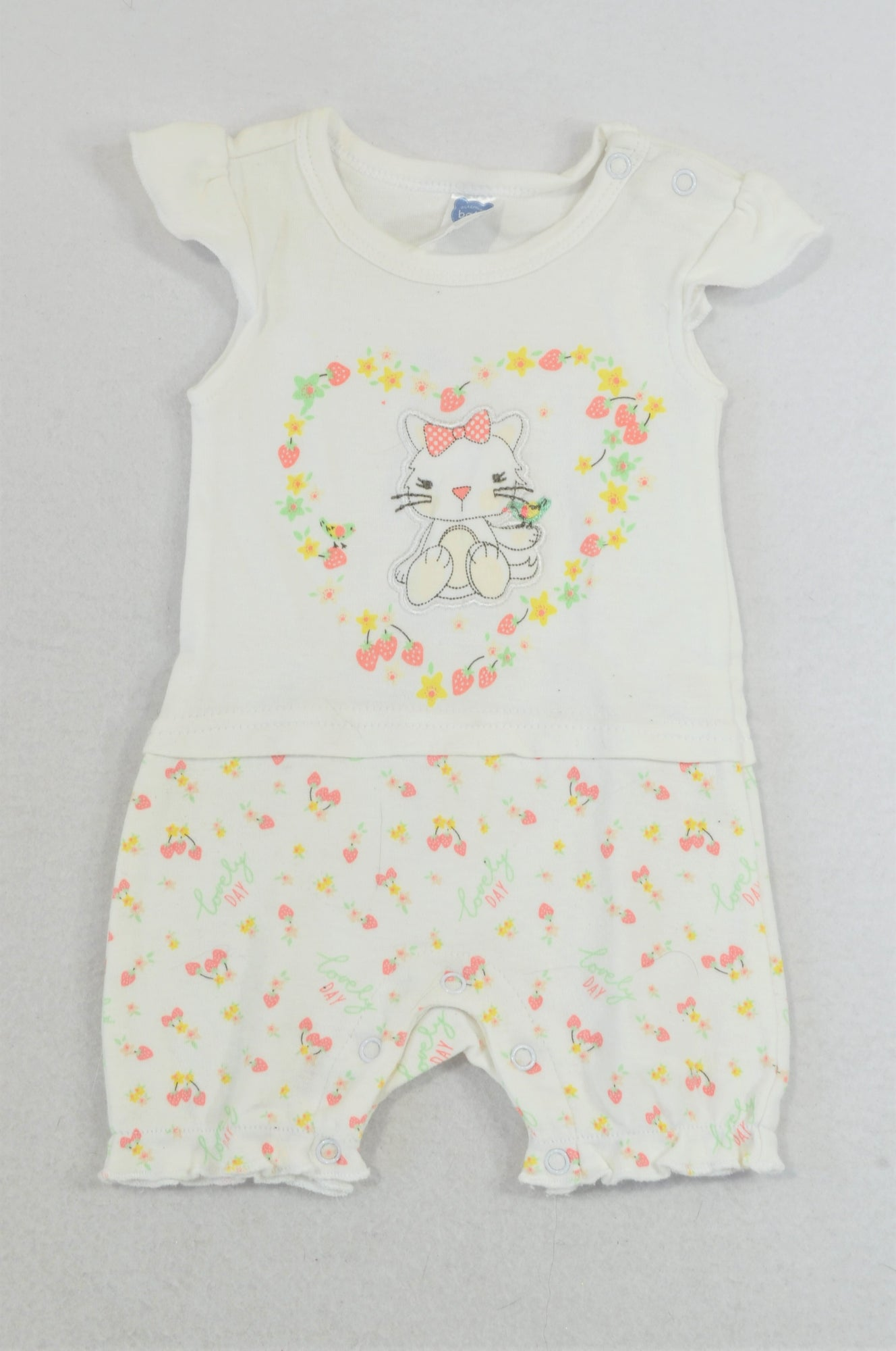 Ackermans Strawberry Flower Heart Kitten Romper Girls 0-3 months