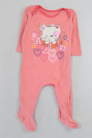 Woolworths Pink Adorable Kitten Onesie Girls 0-3 months