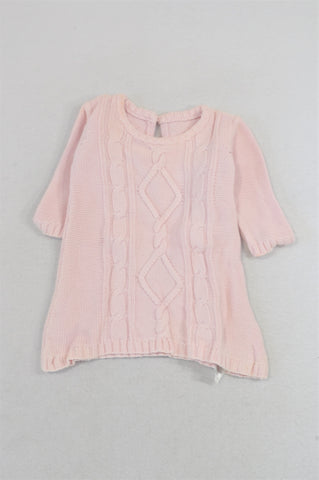 Marks & Spencers Pink Cable Knit Winter Dress Girls 0-1 month