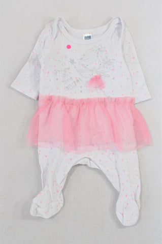 Ackermans Pink Tulle Detail Fairy Onesie Girls N-B