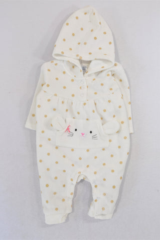 Ackermans Ivory Gold Dotty Bunny Fleece Onesie Girls 0-3 months