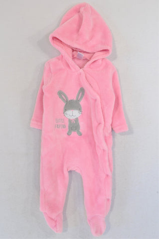 Ackermans Dark Pink Bunny Fleece Snap Onesie Girls 0-3 months