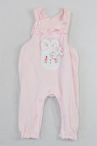 Ackermans Pink Bunny Ear Dungaree Romper Girls 0-3 months