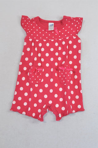 Ackermans Cerise Polka Dotted Bow Romper Girls 0-3 months