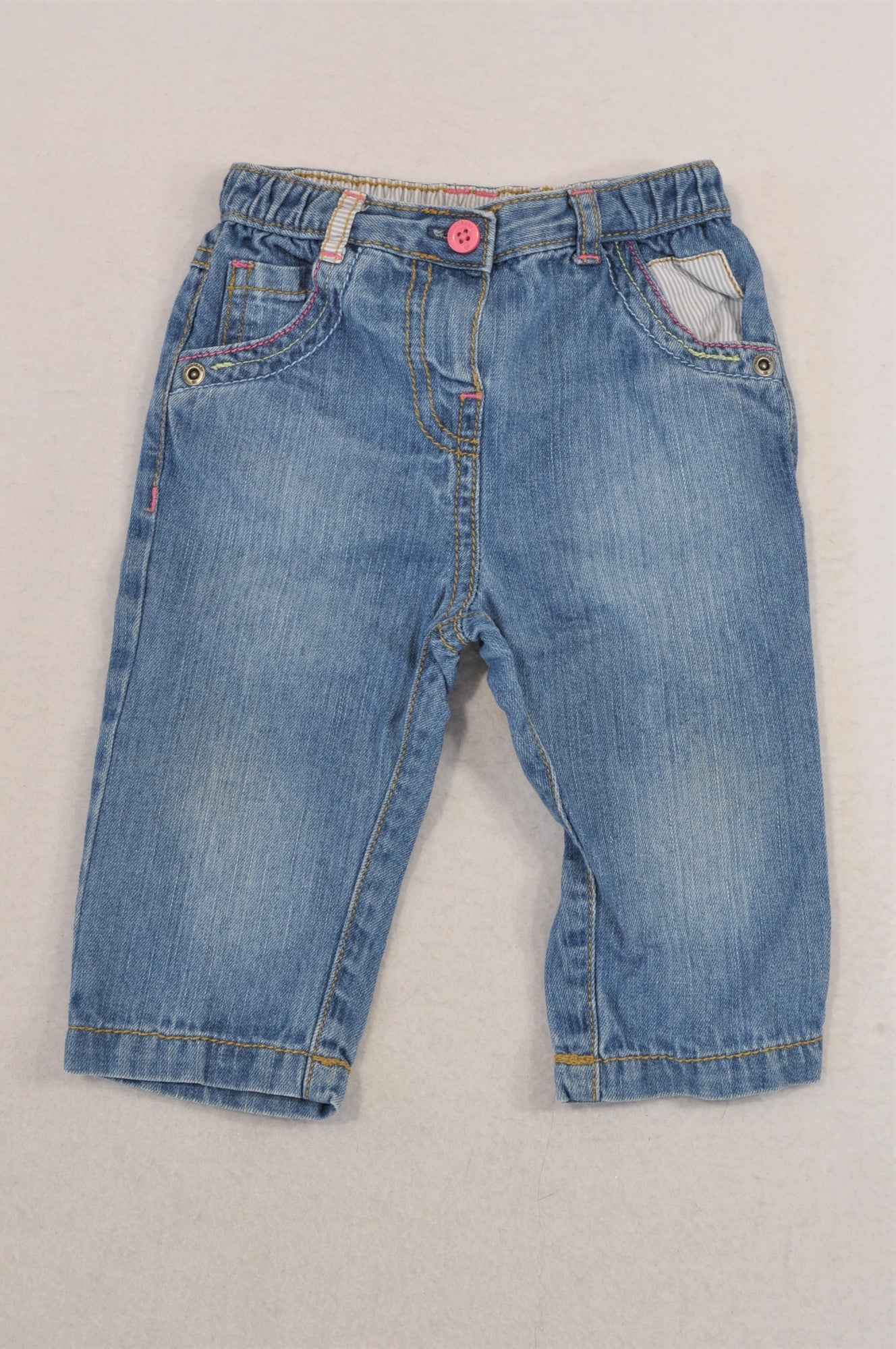 Next Stone Washed Pink Stitch Jeans Girls 6-9 months