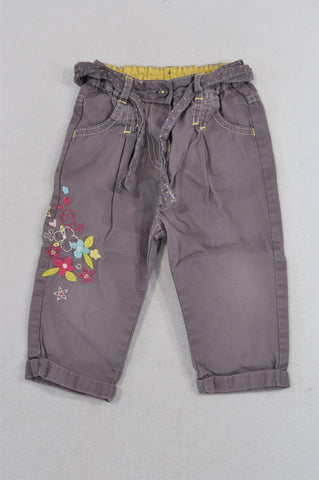 Marks & Spencers Purple Tie Flower Embroidered Pants Girls 9-12 months