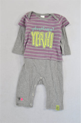 Naartjie Purple & Grey Stripe Yeah! Onesie Girls 0-3 months