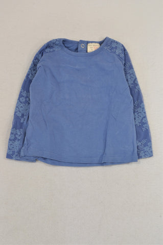 Zara Dusty Blue Lace Sleeve T-shirt Girls 9-12 months