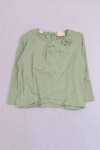 Zara Grey Green Bow Long Sleeve T-shirt Girls 18-24 months