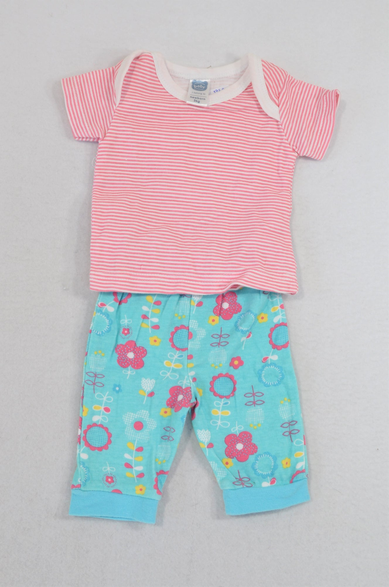 Ackermans Pink Stripe T-Shirt & Aqua Flower Leggings Outfit Girls N-B