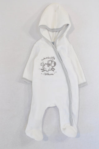 Ackermans White & Grey Sheep Fleece Snap Onesie Unisex Tiny Baby