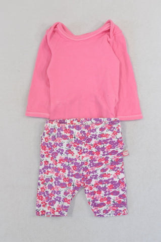 Ackermans Basic Pink Baby Grow & Purple Floral Leggings Outfit Girls 0-3 months