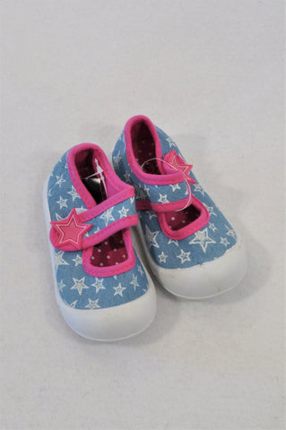 Woolworths Size 3 Chambray Star Pink Trim Shoes Girls 9-12 months