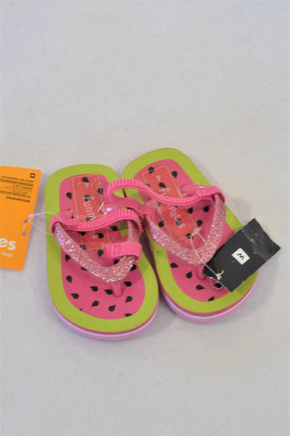 New Woolworths Size 4 Pink Watermelon Flip Flops Girls 12-18 months