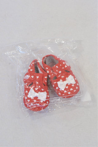 New Tiptoes Size 0 Red Heart Bow Strap Shoes Girls 0-3 months