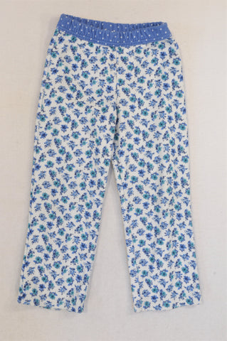 Carter's Blue Flower Fleece Pyjama Pants Girls 4-5 years