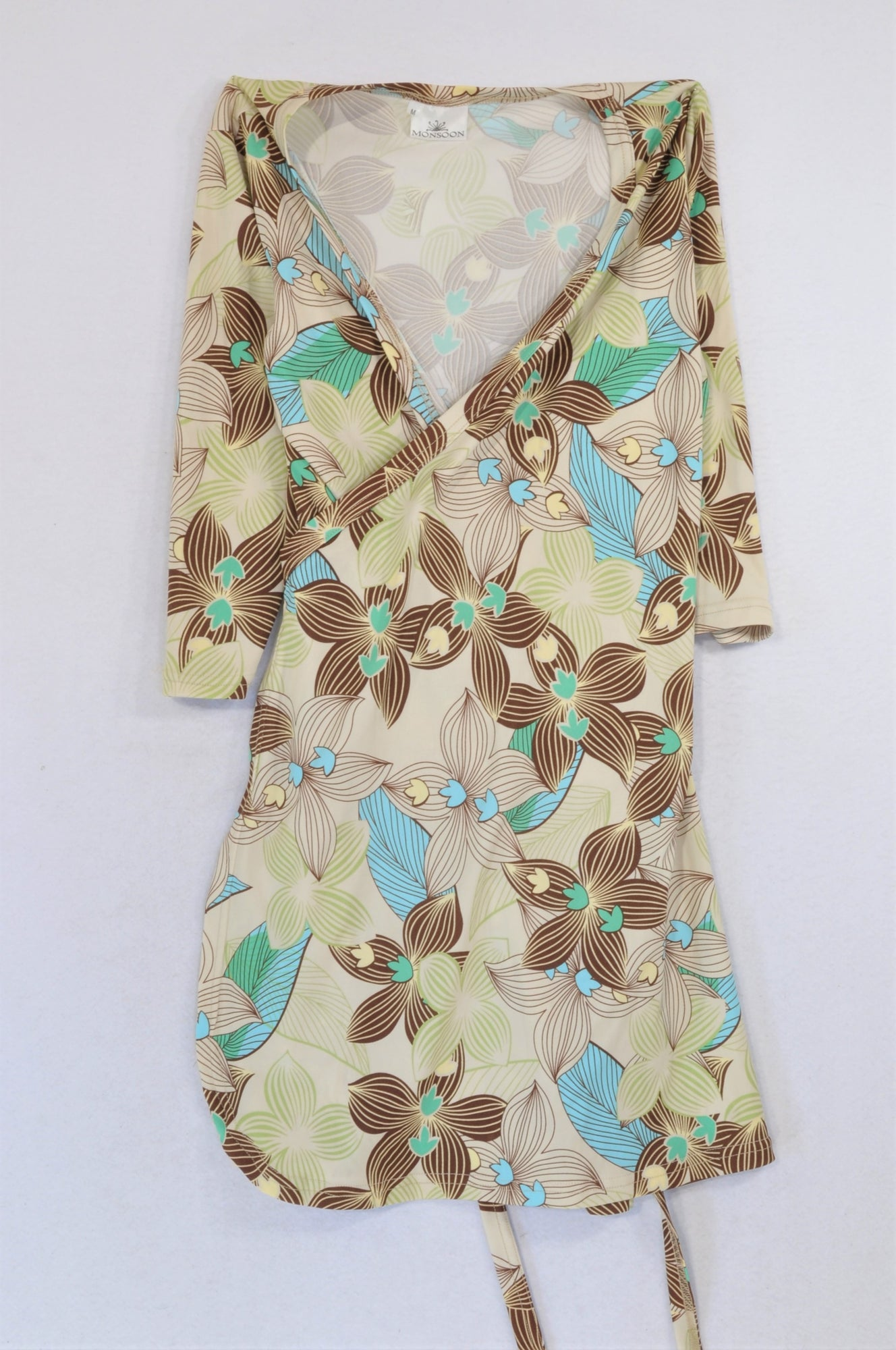 Monsoon Brown & Green Leaf Tie Wrap Top Women Size M