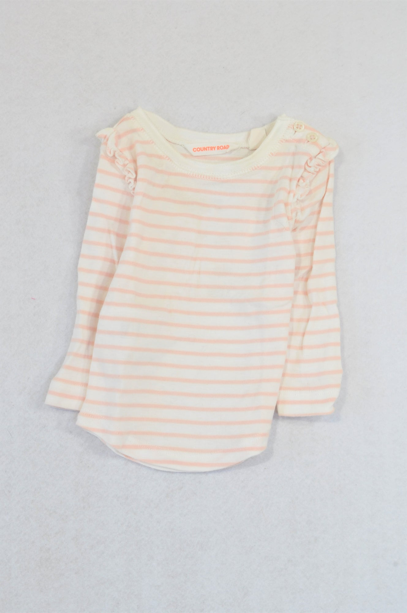Country Road Pink & Ivory Ruffle Sleeve T-shirt Girls 0-3 months