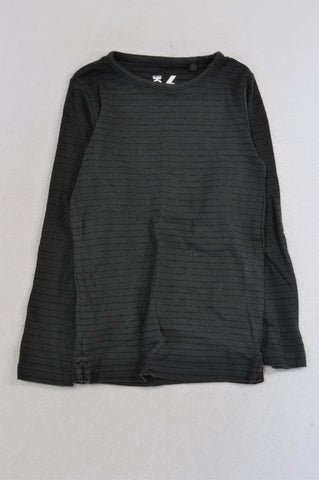 Cotton On Black Glitter Stripe T-shirt Girls 5-6 years