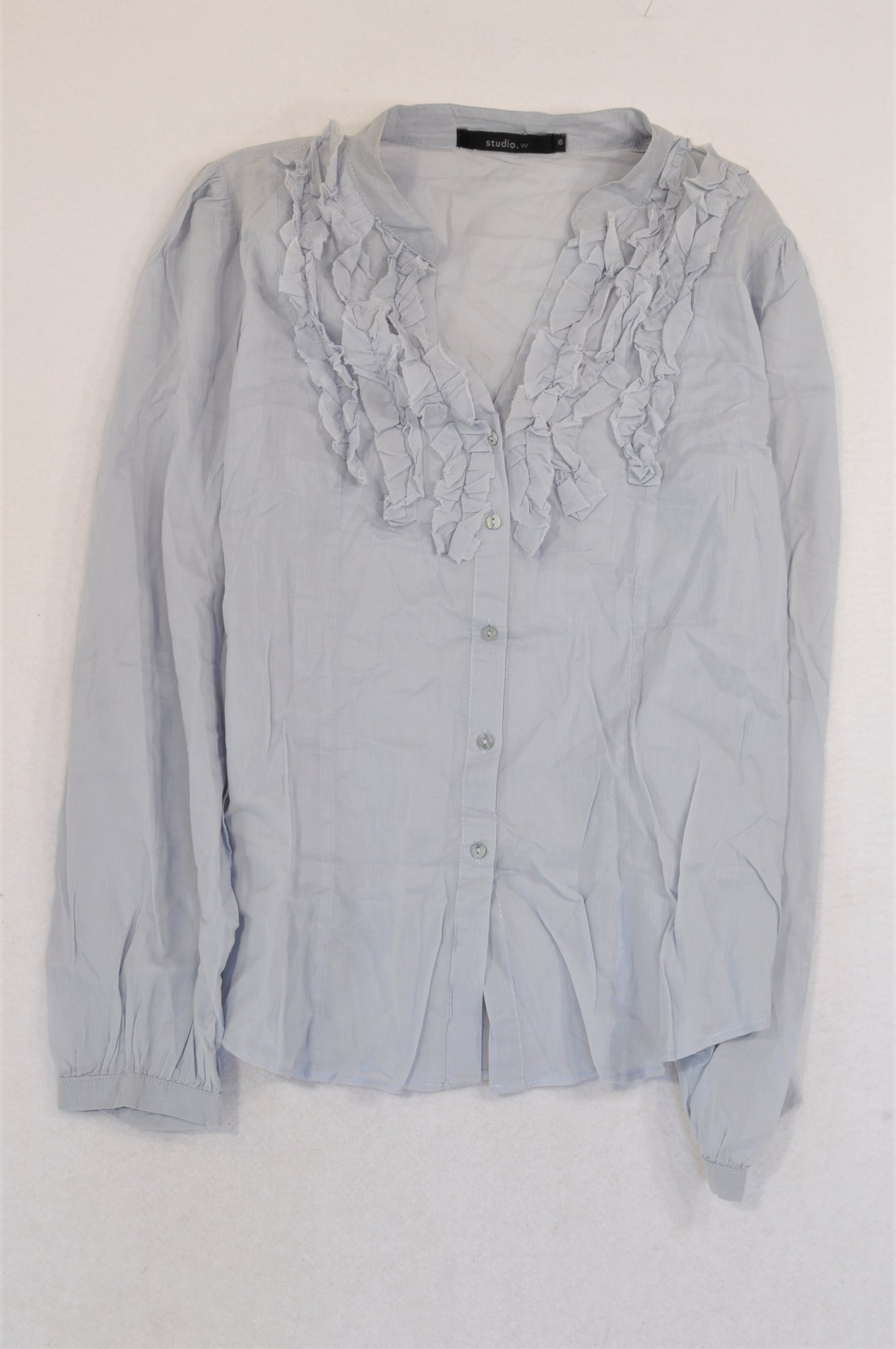 Studio.W Dusty Grey Ruffle Blouse Women Size 10