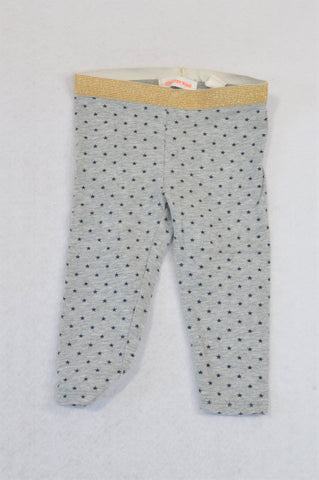 Country Road Grey Navy Star Gold Band Leggings Girls 3-6 months