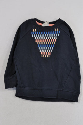 Cotton On Navy Tribal Stitch Neckline Pullover Top Girls 4-5 years