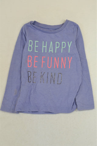Carter's Purple Be Happy T-shirt Girls 3-4 years