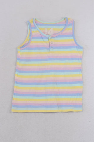 Cotton On Multi Stripe Yellow & Purple Tank Top Girls 3-4 years