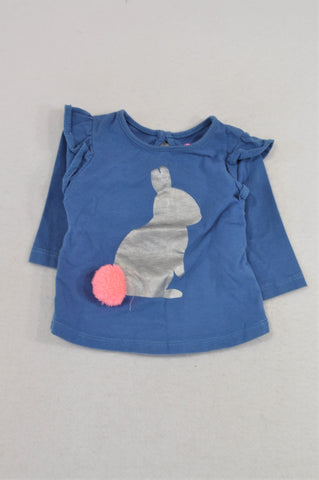 Cotton On Dusty Blue Silver Bunny Pom Pom T-shirt Girls 3-6 months