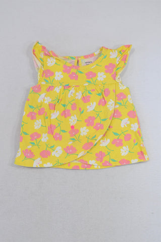 Carter's Yellow & Pink Flower Frill Baby Doll T-shirt Girls 18-24 months